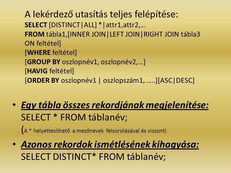 A lekérdező utasítás teljes felépítése: SELECT [DISTINCT|ALL]